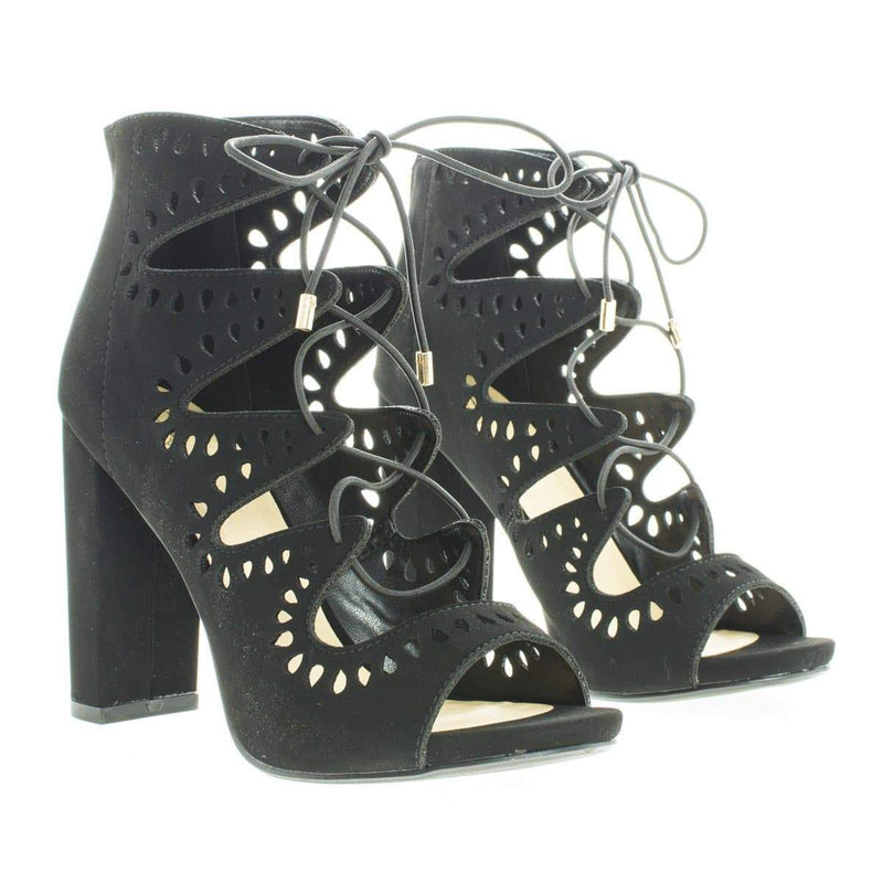 Teller By Delicious, Geometric Cut Out Ghillie Lace Up Heeled Sandals