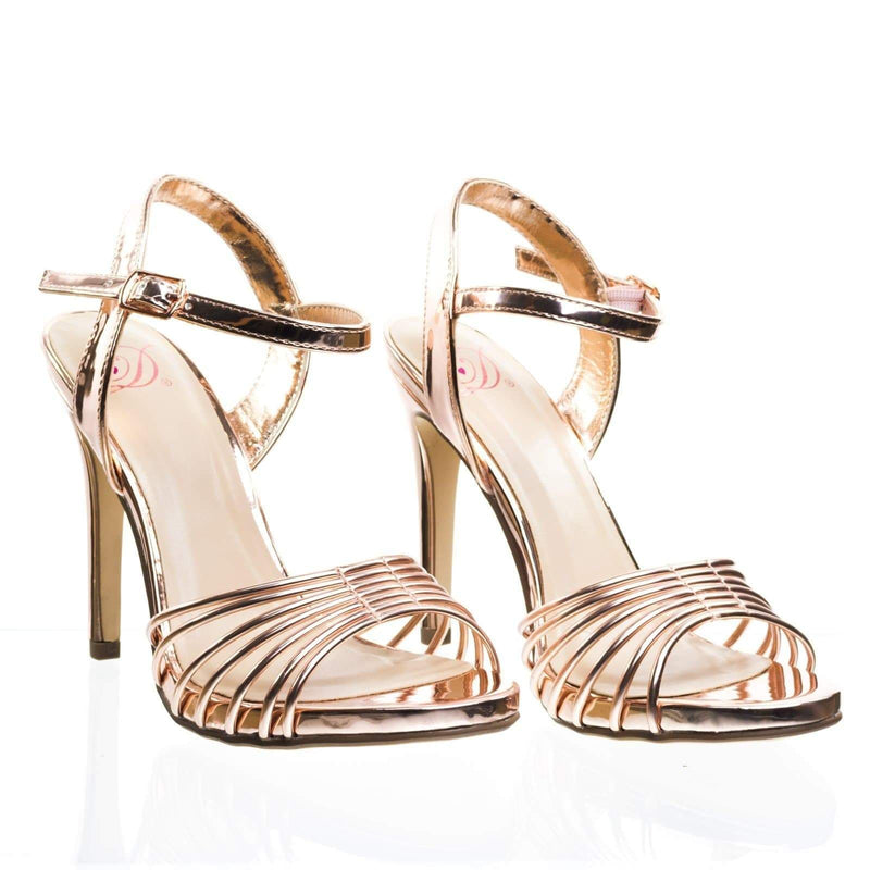 Telling Metallic High Heel Dress Sandal w Cage Strap. Women Evening Party Shoe