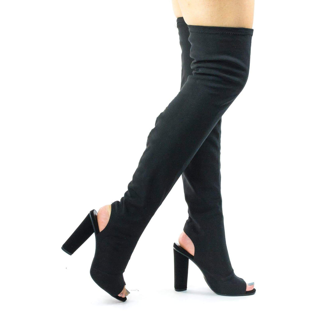 Tenor Black Mesh Block Heel Stretchy Fitted Mesh Over-The-Knee Open Back, Peep Toe Boots