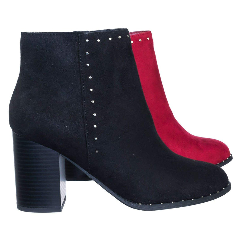 Upland BlackIsu Rockstud Micro Metal Stud On Chunky Block High Heel Ankle Bootie