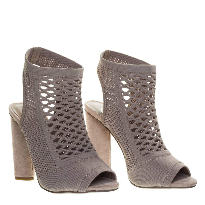 Vinson Perforated Stretch Knit Block Heel Sandal Bootie