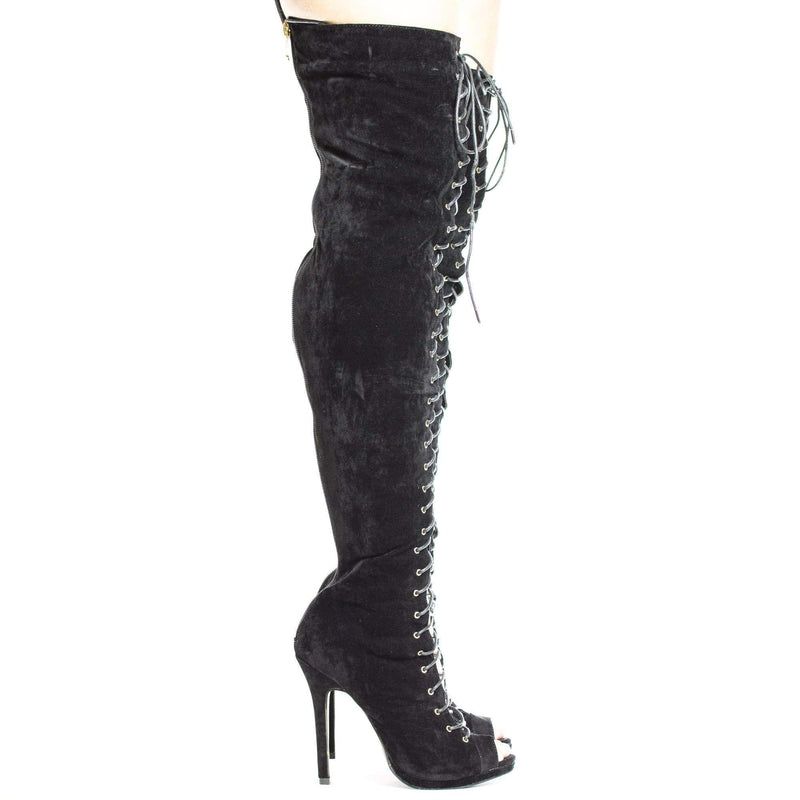Opus1 Black By Dollhouse, Thigh High Peep Toe Corset Lace Up Stiletto High Heel Boots