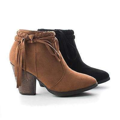 Shameless Chestnut By Dollhouse, Braided Fringe Ankle Wrap Western Chunky Heel Bootie