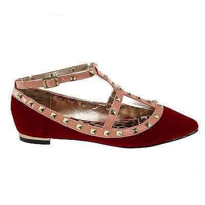 Stunner Red By Dollhouse, Edgy Metal Studded Patent Strap Ballet Flat Gold Plate Women's Shoes