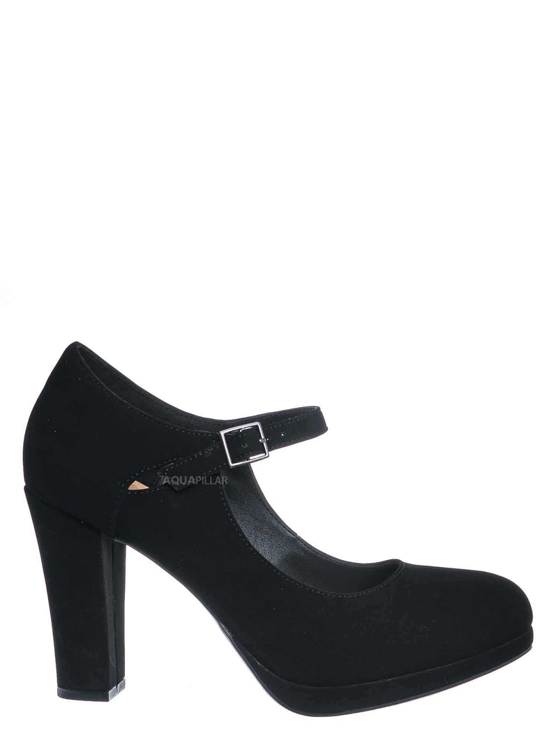 Black Nubuck  / Denny Foam Padded Mary Jane Dress Pump -Women Chunky Block High Heel Office Shoe