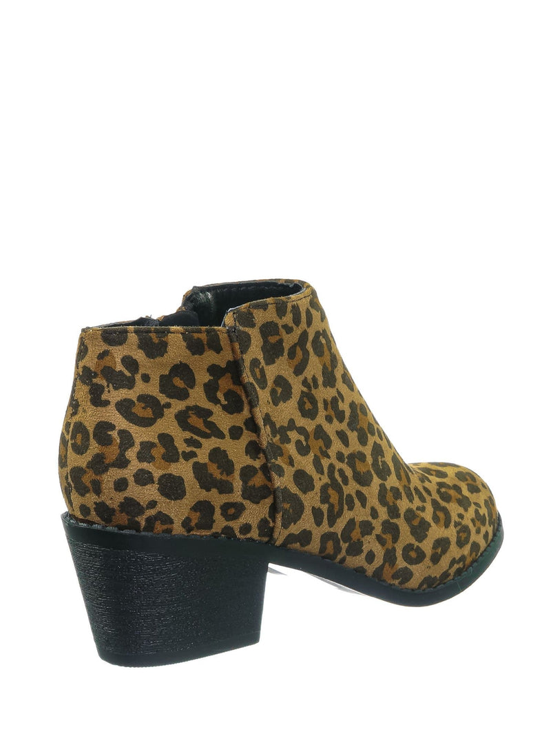Tan Cheetah / MugIIS Girls Simple Ankle Bootie - Children Kids Round Toe Block Heel Boots