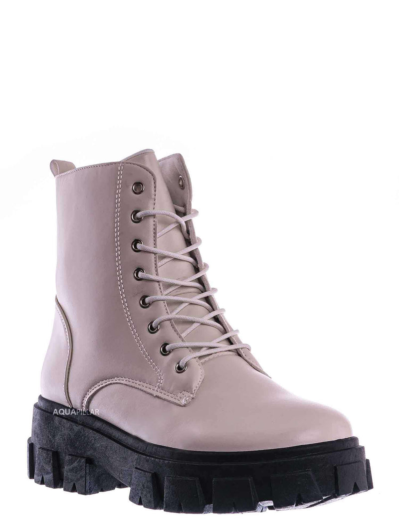 Ivory White / Lux1 Chunky Platform Combat Boots - Threaded Lug Sole Military Fashion Bootie
