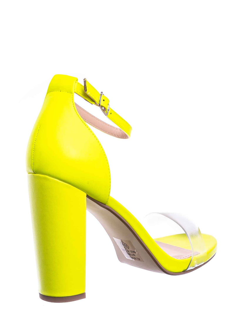 Yellow Neon / Share Block Heel Lucite Sandal - Women Chunky Open Toe w Transparent Strap