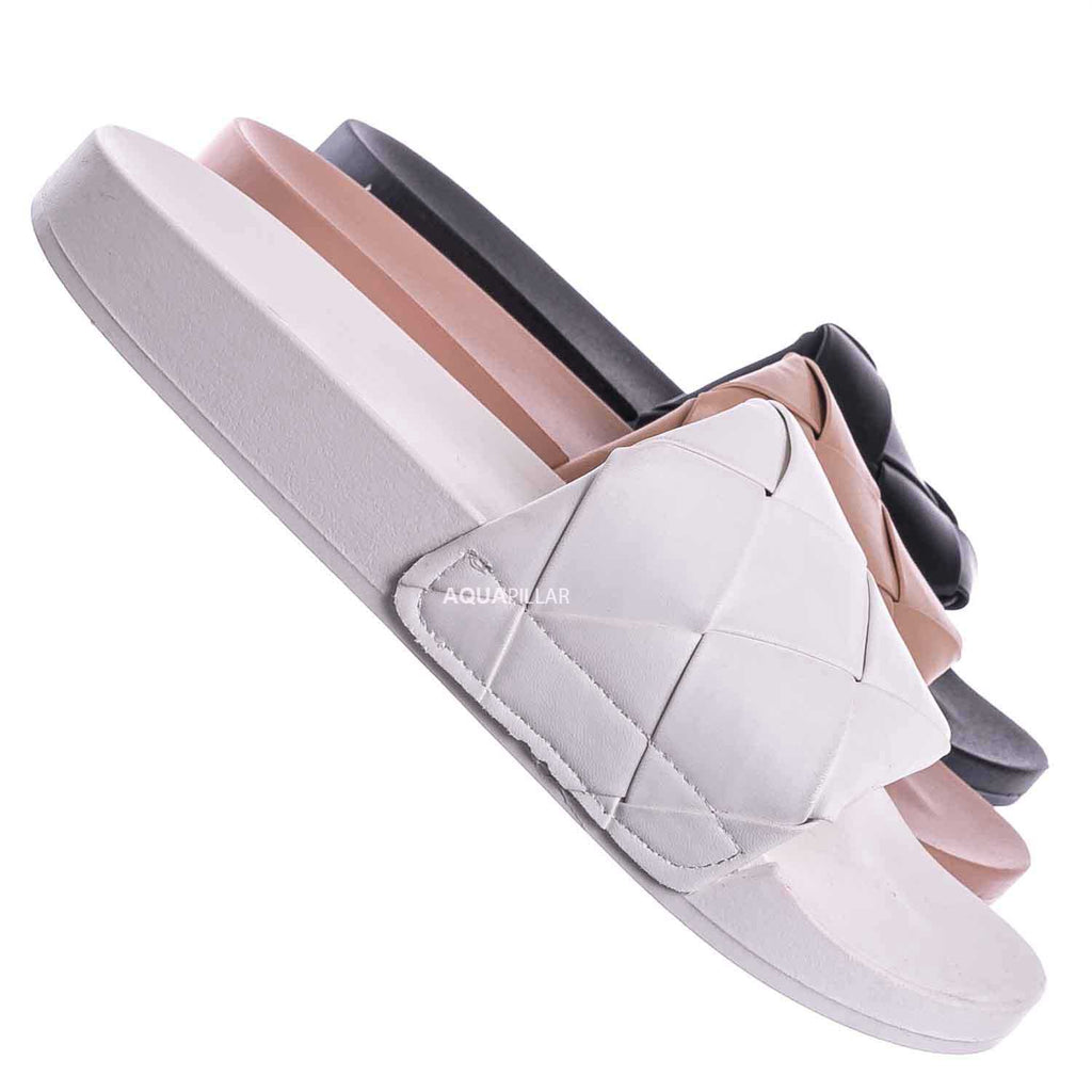 White / Comex11 Oversized Weave Flat Footbed Sandal - Women Wove Slipper Summer Shoe