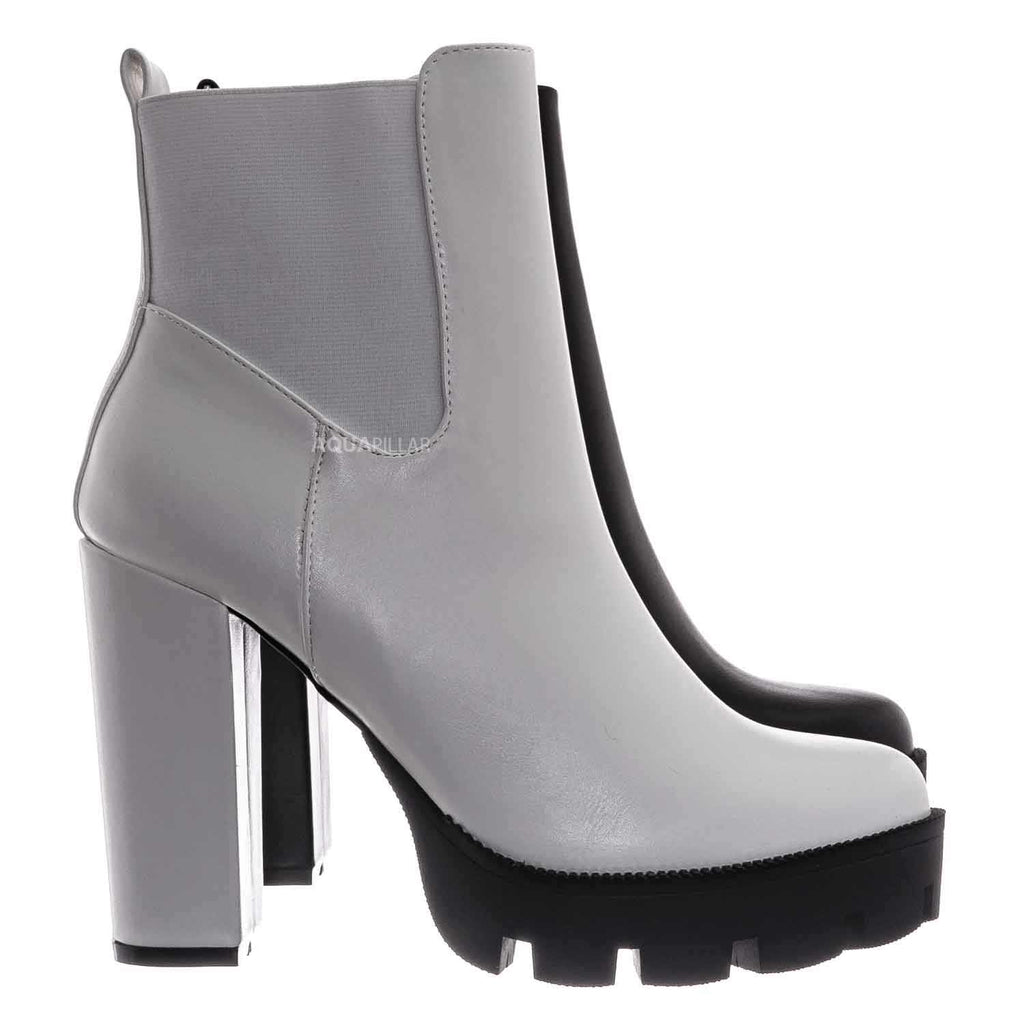 White / Latavia3 Block Heel Zip Chelsea Boot