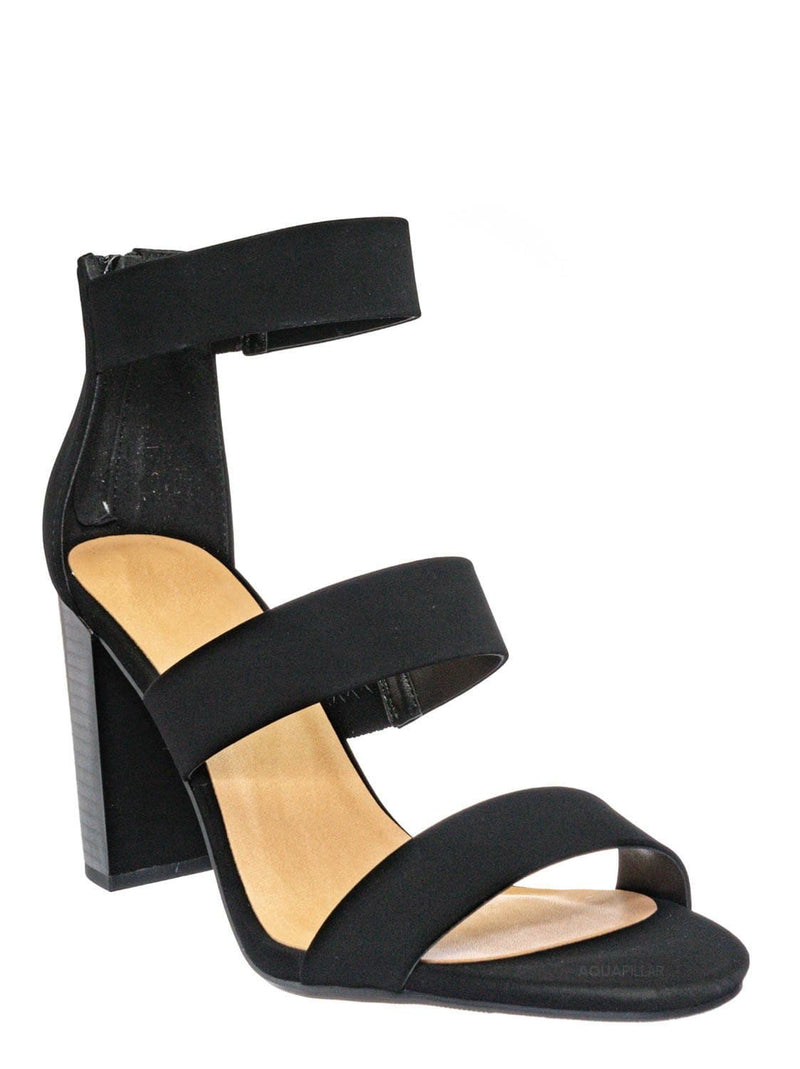 Black Nubuck / Nutmeg Dressy Ankle High Heel Sandal - Womens 3 Strap Open Toe Chunky Block Shoe