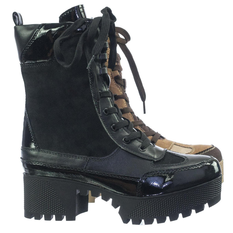 Powerful06 Faux Fur Lninig Combat Boots - Military Lug Sole Color Block Shoes
