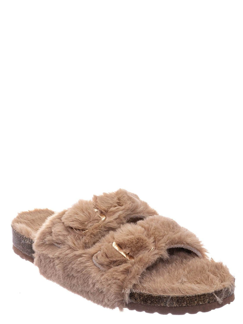 Camel Beige / Defeat63 Faux Fur Molded Footbed Slipper - Furry Slide In Cork Slide Sandal