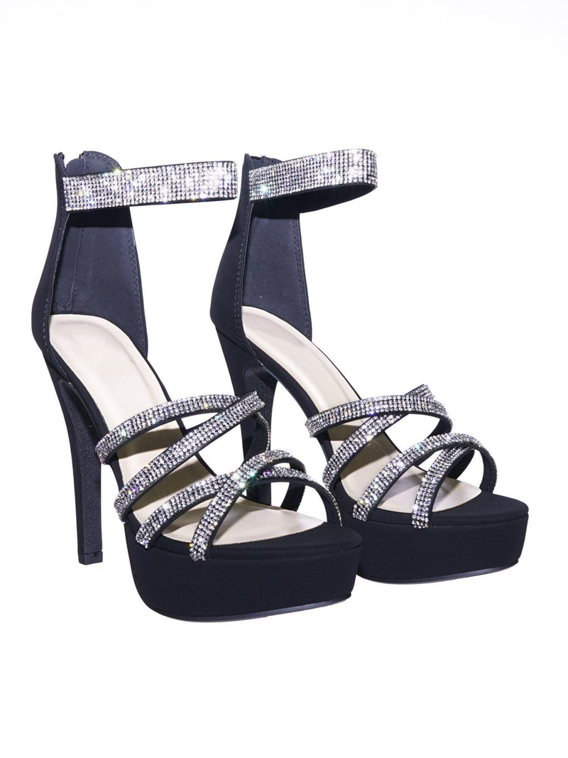 Mullen BlackNb Rhinestone Embellished Open Toe Platform Stiletto Party Dress Sandal