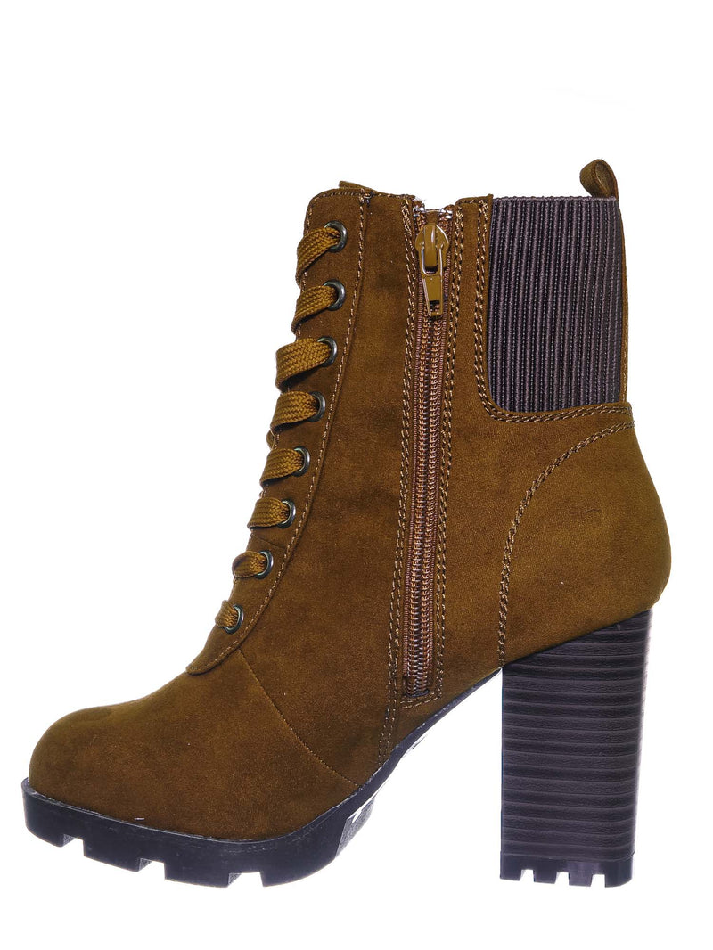 Tobacco Brown / Pilate09 Block Heel Combat Bootie - Lug Sole Lace Up Goth Victorian Ankle Boots