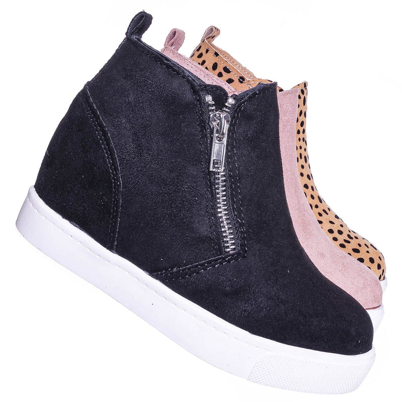 Black Isu / Taylor2 Childrens Athleisure Hidden Wedge Sneaker - Girls High Top Loafer Shoes