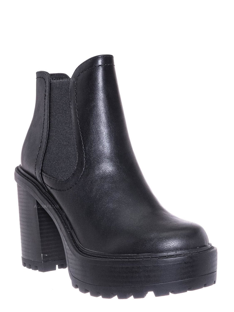 Black Pu / Think Chunky Lug Sole Chelsea Boots - High Heel Elastic Gusset Pull On Shoe