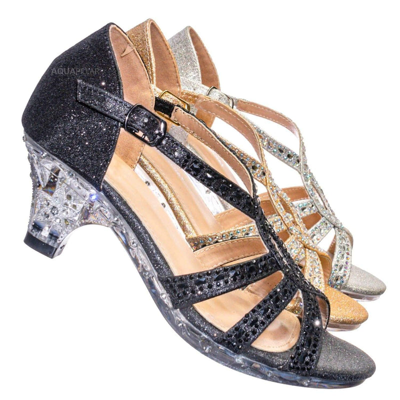 Lyla6 Girls Rhinestone Crystal Sandal- Childrens Open Toe Glass Heel Sandals