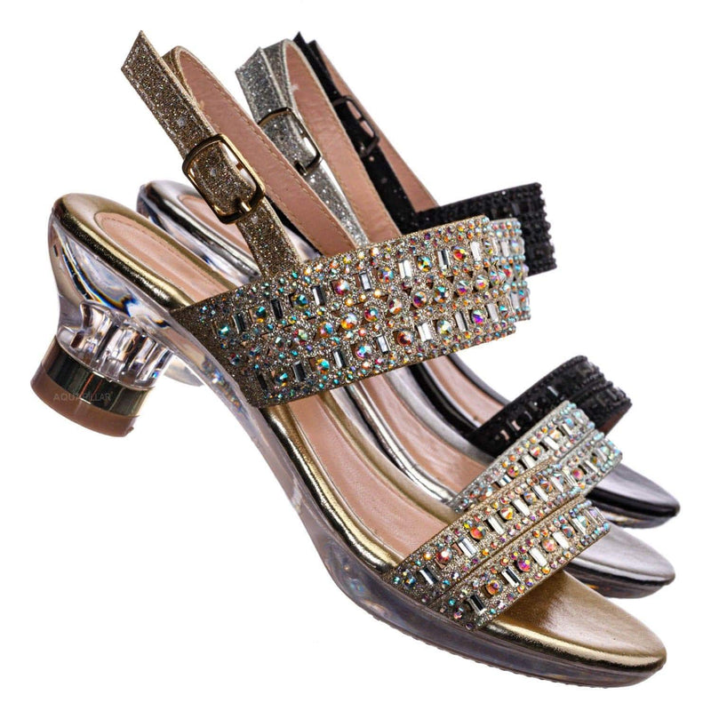 Nora1 Girls Rhinestone Crystal Sandal - Childrens Open Toe Glass Heel Dress Shoe