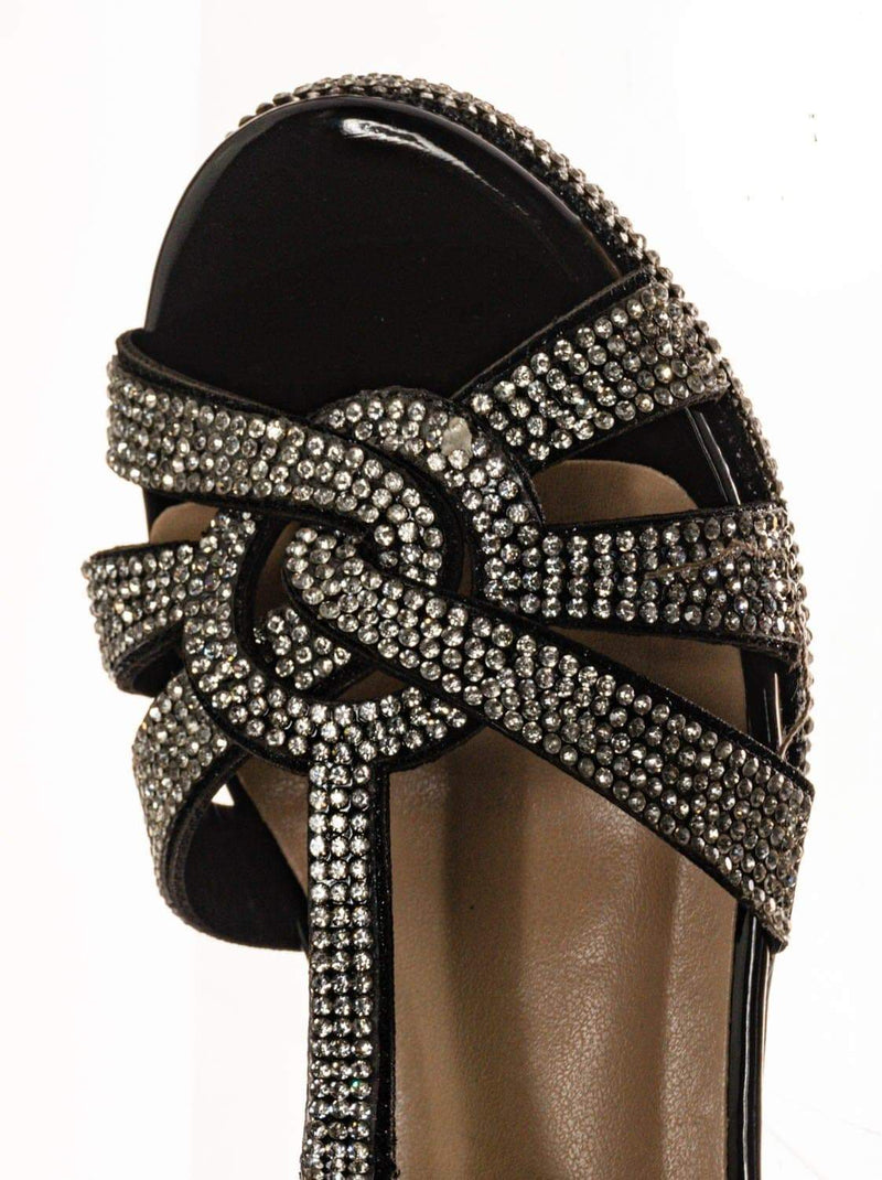 Black Pu / Scoble89K Kids Rhinestone High Heel Dress Sandal - Children Crystal Party Shoes