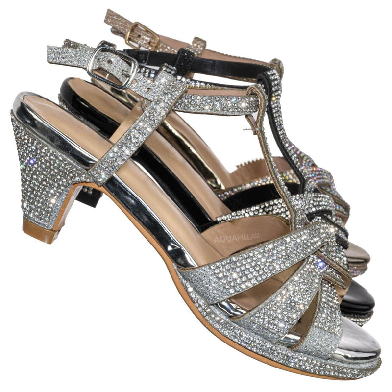 Silver Metallic / Scoble89K Kids Rhinestone High Heel Dress Sandal - Children Crystal Party Shoes