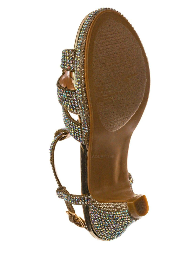 Champagne Gold / Scoble89K Kids Rhinestone High Heel Dress Sandal - Children Crystal Party Shoes