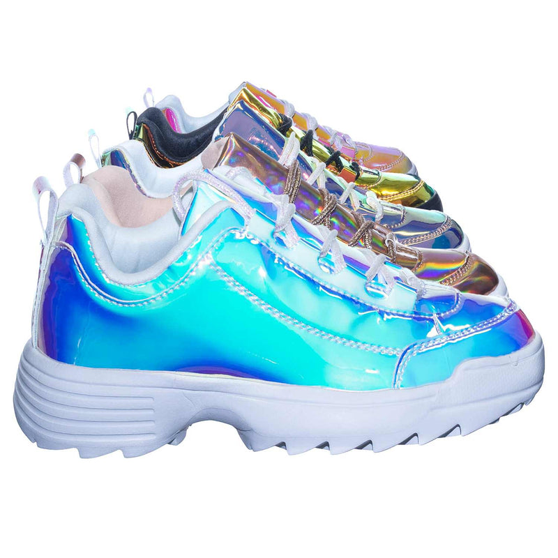 Adobe11 White Lightweight Foam Shark tooth Platform Holographic Vinyl Metallic Sneaker