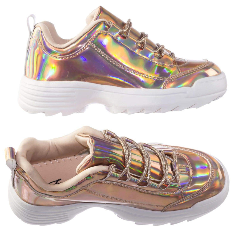 Adobe11 RoseGold Lightweight Foam Shark tooth Platform Holographic Vinyl Metallic Sneaker