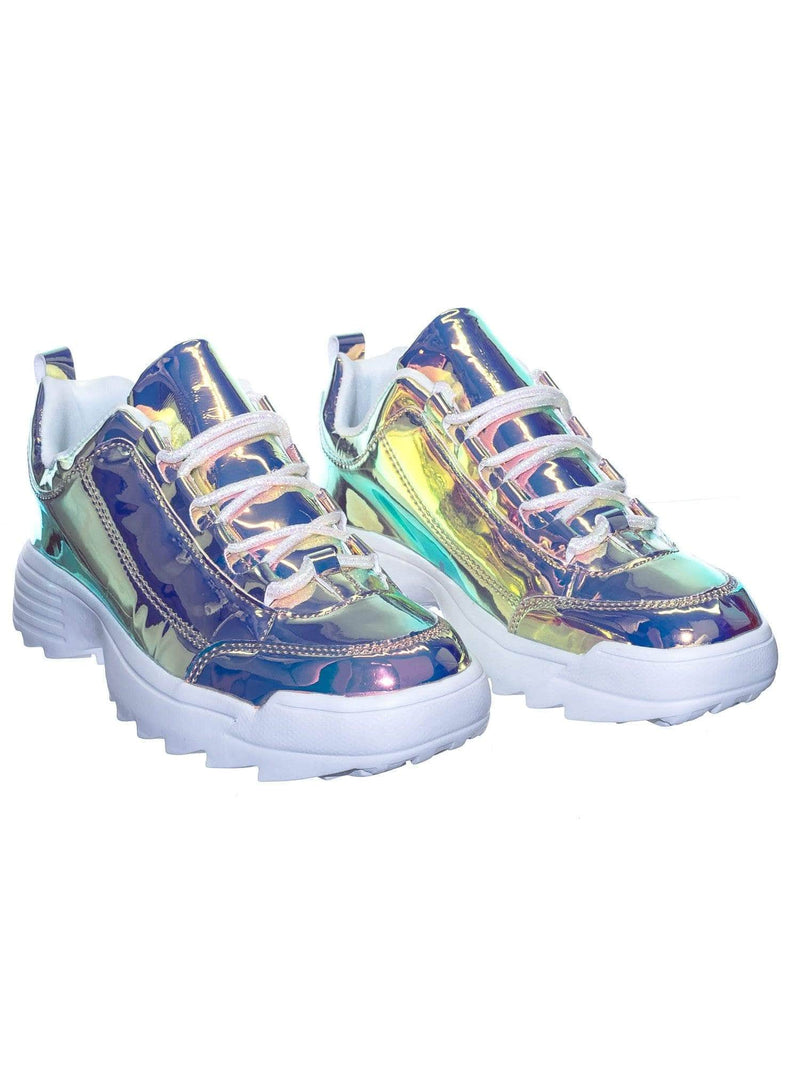 Adobe11 Purple Lightweight Foam Shark tooth Platform Holographic Vinyl Metallic Sneaker