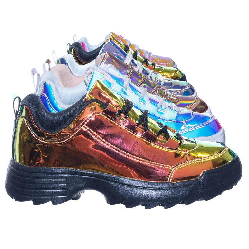Adobe11 Gold Lightweight Foam Shark tooth Platform Holographic Vinyl Metallic Sneaker