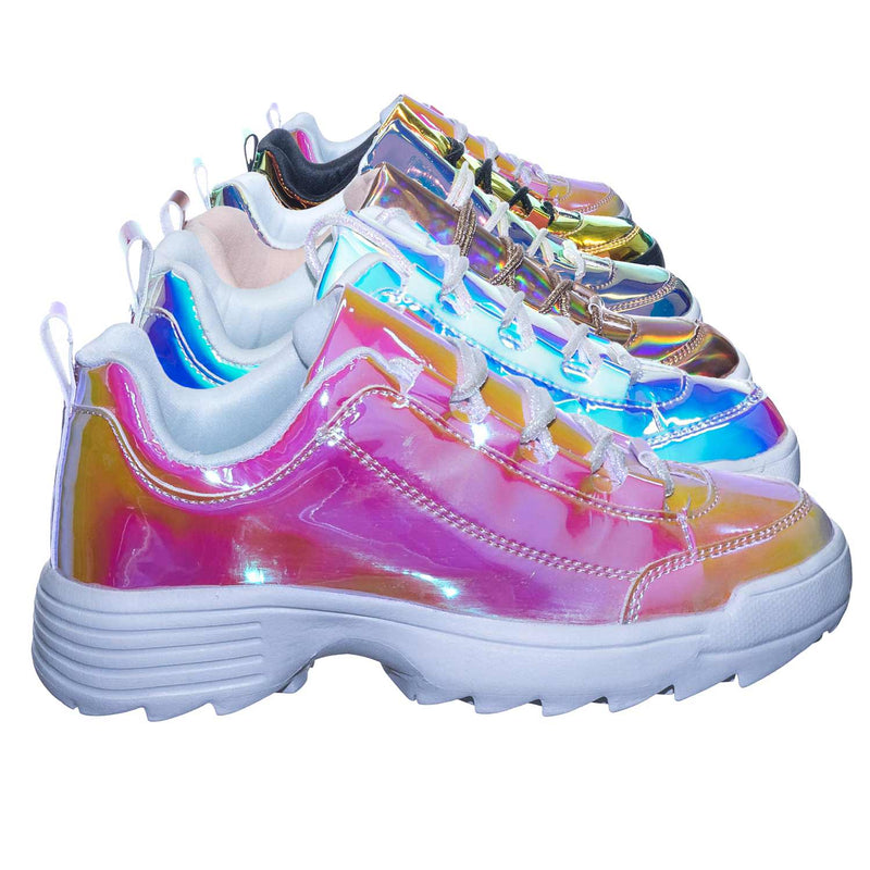 Adobe11 DustRose Lightweight Foam Shark tooth Platform Holographic Vinyl Metallic Sneaker