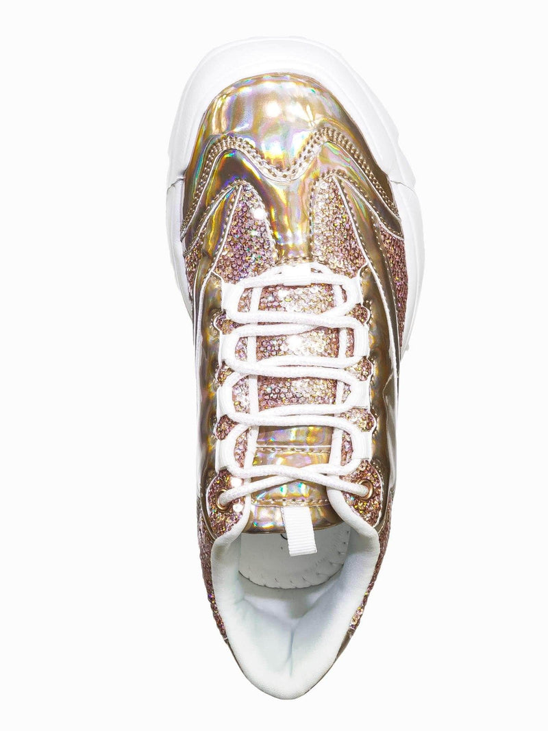 Rose Gold / Adobe39 Rose Gold Retro Daddy Fashion Sneaker - Womens 90s 80s Flatform Party Shoe