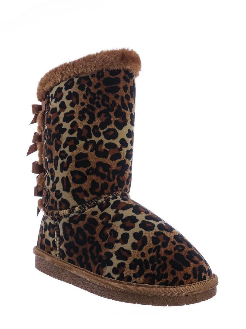 Leopard Brown / Faux Fur Lined Shearling Boots - Womens Winter Mukluk Mid Calf Boot