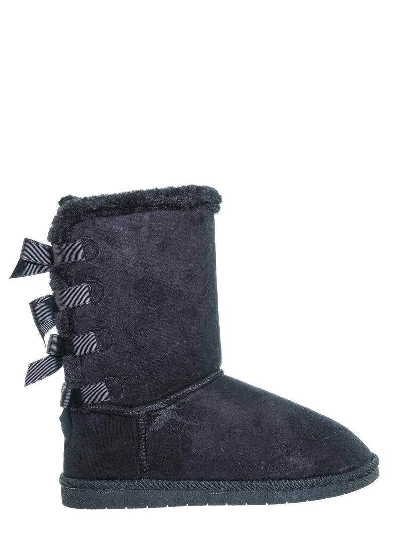 Black Fsuede / Faux Fur Lined Shearling Boots - Womens Winter Mukluk Mid Calf Boot