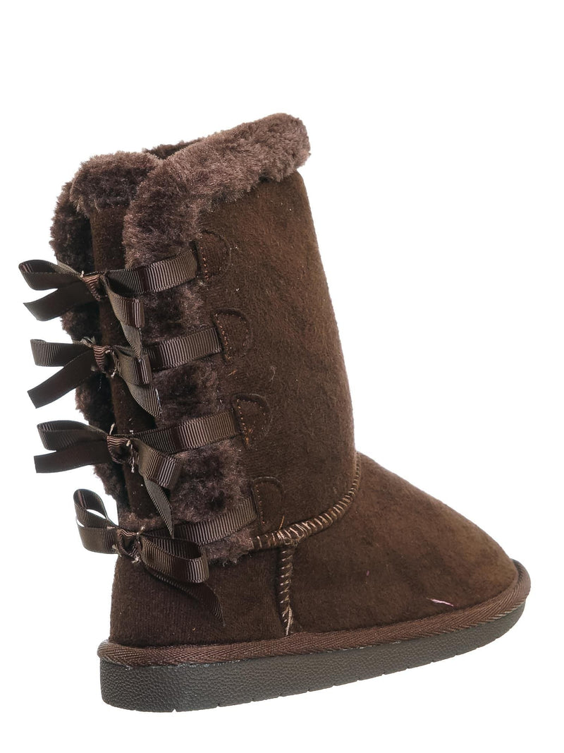 Brown Fsuede / Faux Fur Lined Shearling Boots - Womens Winter Mukluk Mid Calf Boot