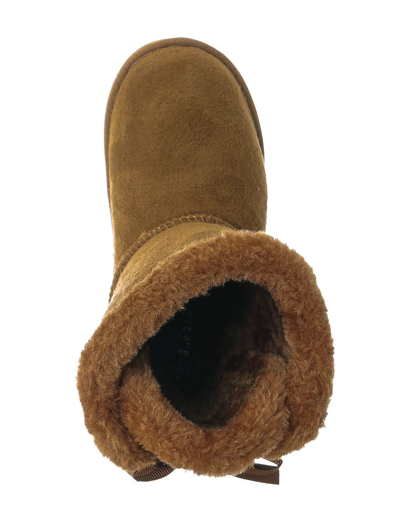 Tan Brown / Faux Fur Lined Shearling Boots - Womens Winter Mukluk Mid Calf Boot