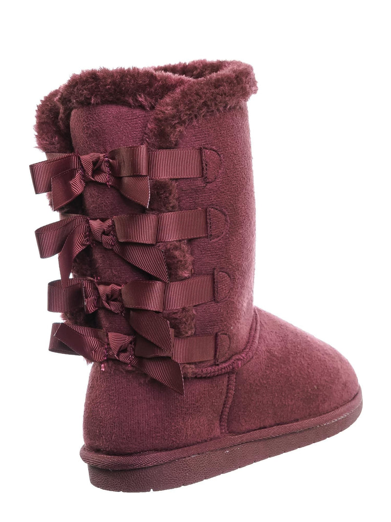 Wine Red / Faux Fur Lined Shearling Boots - Womens Winter Mukluk Mid Calf Boot