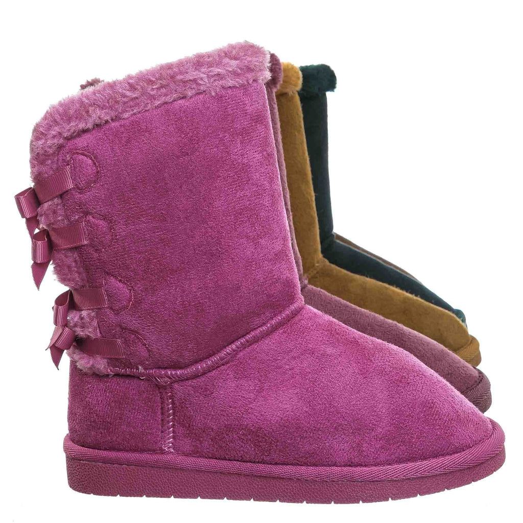Ann34K Girl Shearling Faux Fur Pull Ons - Children Mid Calf Mukluk Slipper Boot