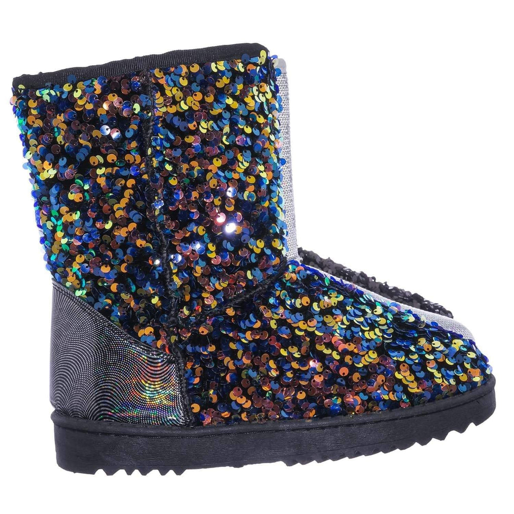 Annie42K Children's Sequins Faux-Fur Lined Boots - Girls Mid Calf Winter Shoes
