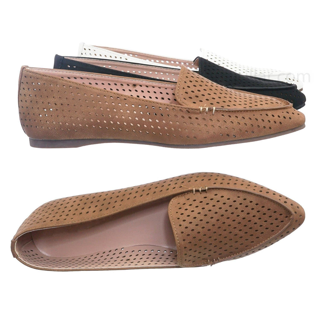 Tan Brown / Arrow11 Tan Pointed Toe Perforated Loafer - Women Flat Slipper w Hole Cutout