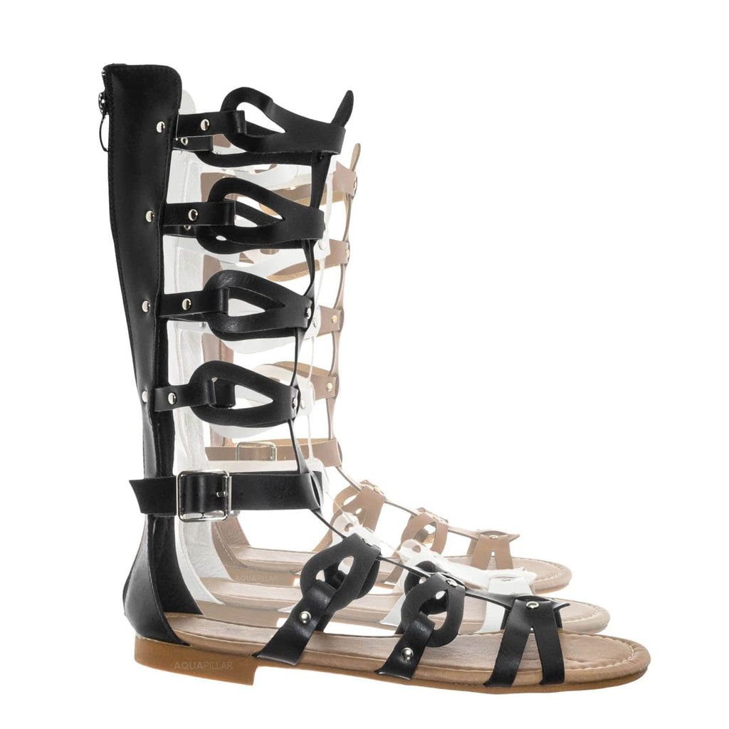 Black / Atta07 Calf High Gladiator Strappy Sandal - Roman Greek Inspired Fashion Shoes