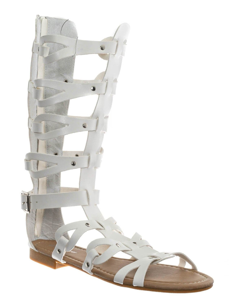 White / Atta07 Calf High Gladiator Strappy Sandal - Roman Greek Inspired Fashion Shoes