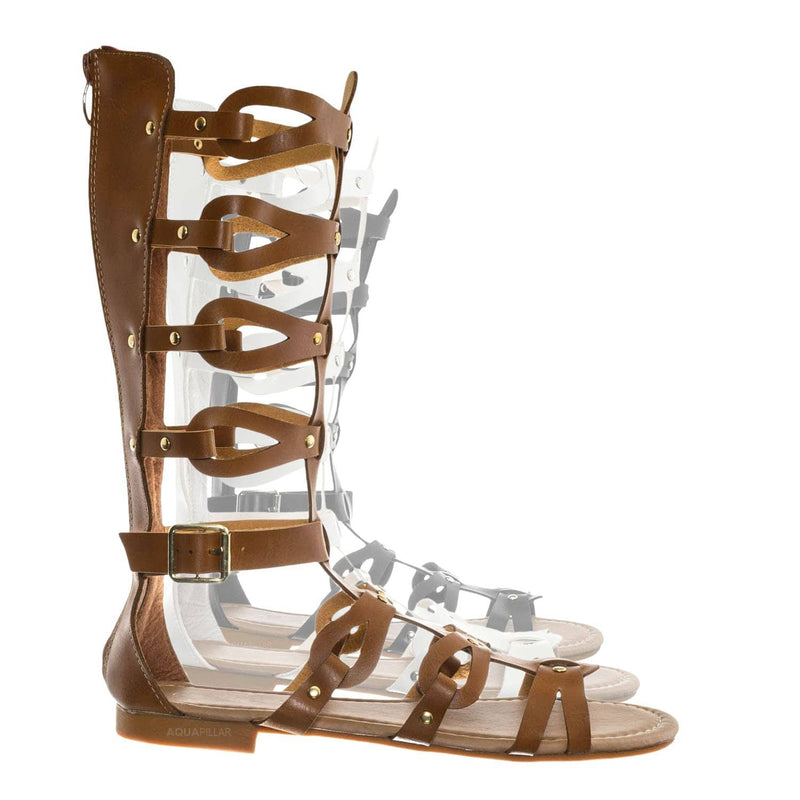 Tan Brown / Atta07 Calf High Gladiator Strappy Sandal - Roman Greek Inspired Fashion Shoes