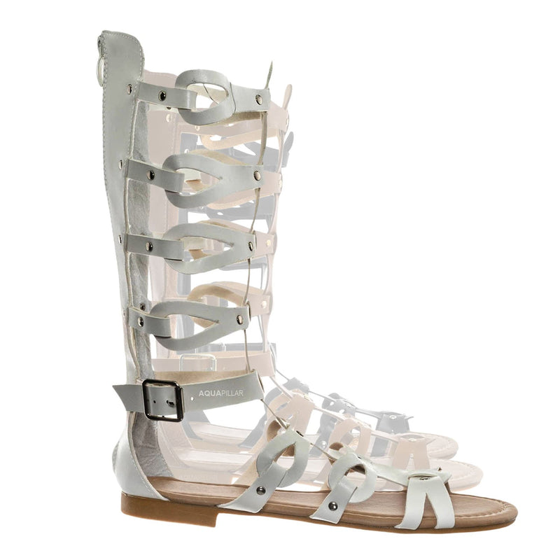 Atta07 Calf High Gladiator Strappy Sandal - Roman Greek Inspired Fashion Shoes