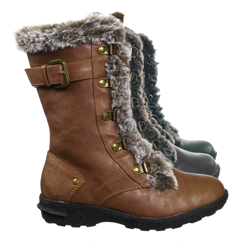 Tan Brown / Aura20K Tan Brown Girls Shearling Combat Boots - Children Kids Faux fur Military Tactical