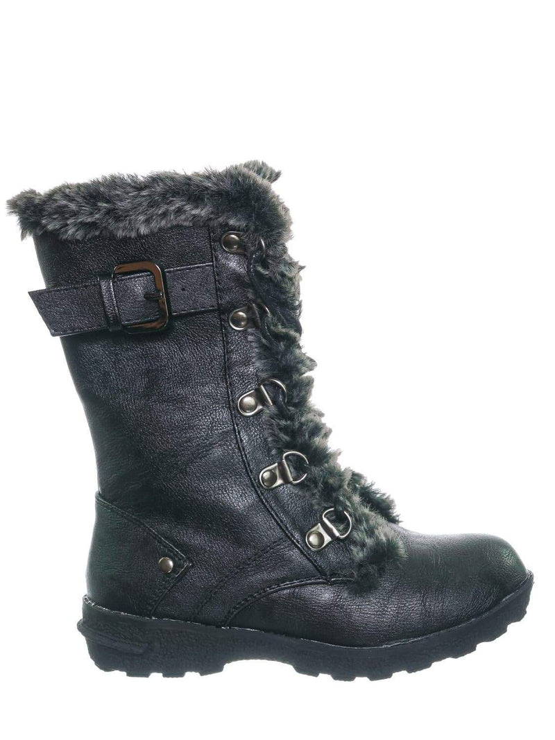 Black Pu / Aura20K Black Pu Girls Shearling Combat Boots - Children Kids Faux fur Military Tactical