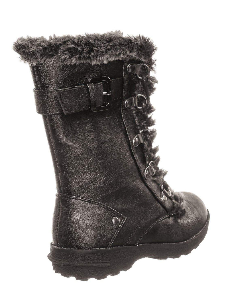 Brown Pu / Aura20K Brown Pu Girls Shearling Combat Boots - Children Kids Faux fur Military Tactical