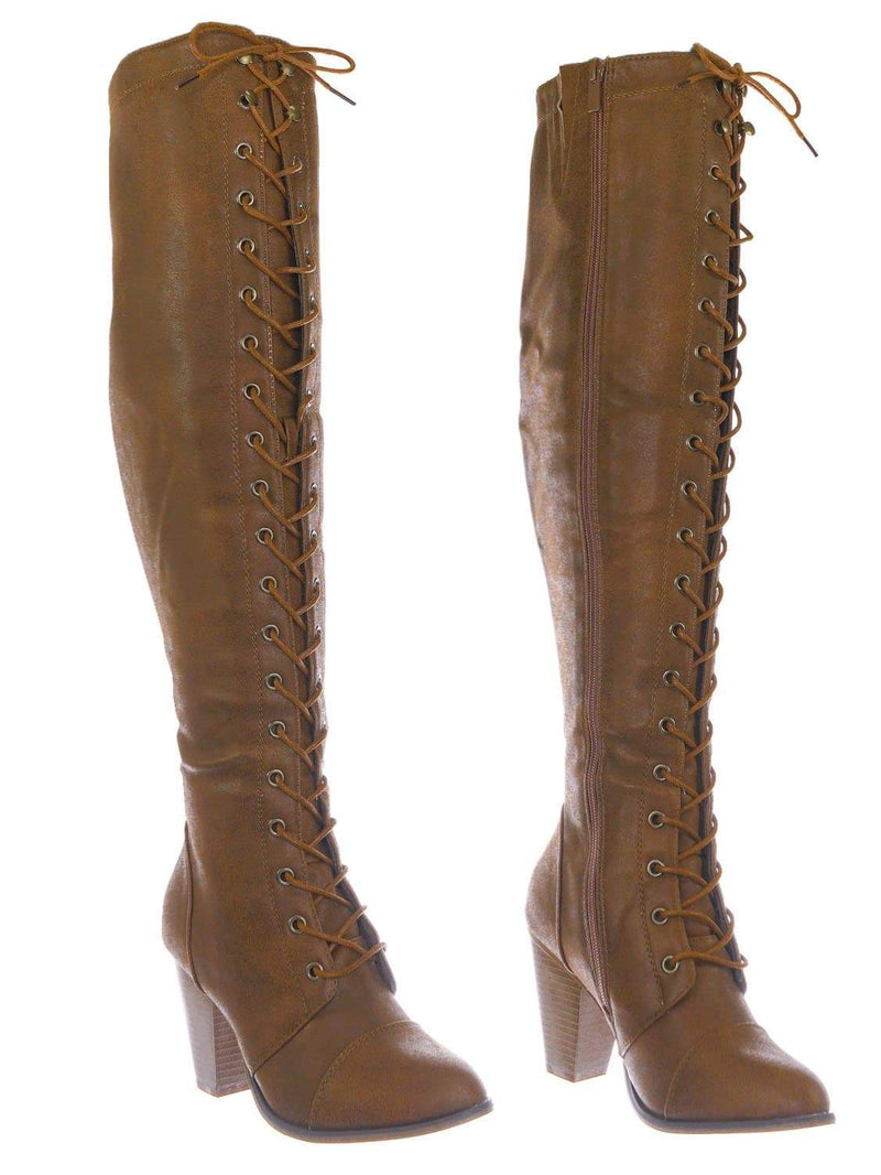 Tan Brown / Camila48 Tan Over Knee High Heel Combat Boot - Women Fashion Military Lace Up Shoe