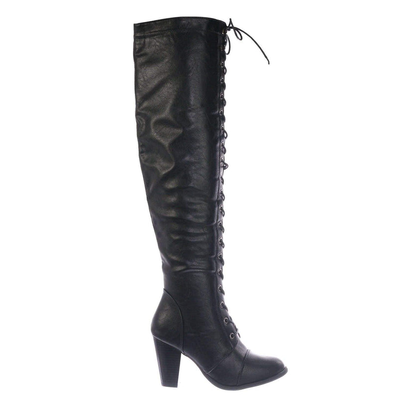 Black Pu / Camila48 Black Over Knee High Heel Combat Boot - Women Fashion Military Lace Up Shoe