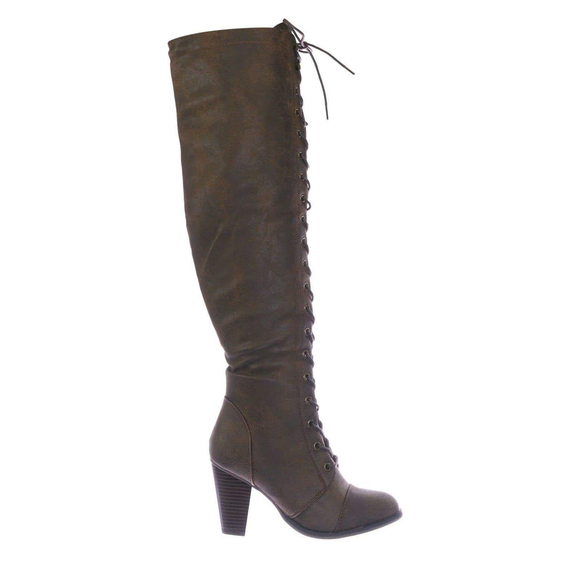 Brown Pu / Camila48 Brown Over Knee High Heel Combat Boot - Women Fashion Military Lace Up Shoe